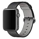 Kartice Apple Watchアップルウォッチバンド ウーブンナイロンバンド アダプター付き (42mm, ブラック)