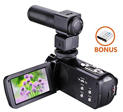 ZHILY フルハイビジョンビデオカメラ デジタルHDビデオカメラ 2400万画素 1080P 16倍デジタルズーム 3.0インチLED液晶スクリーン SDカード(最大32GB) 270度回転ナイト・ビジョン機能 リモート-コントロール ビデオカメラ用外部マイク付き