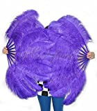 """Hot Fans Violet Single Layer Ostrich Feather Fan 24""""x 41"""" for Pair"""