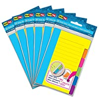 (6 Pack) - Redi-Tag Divider Sticky Notes, Tabbed Self-Stick Lined Note Pad, 60 Ruled Notes per Pack, 10cm x 15cm, Assorted Neon Colours, 6 Pack (10291)