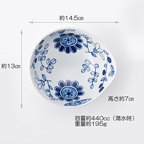 波佐見焼 CtoC JAPAN 少し大きめの 持ち手つき 小鉢 6柄組 W14.5×D13×H7(cm) 440(cc)