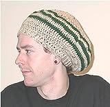 【墨猫】ドレッドヘア ミディアム用ドレッド ハンドメイド コットン タム帽 つば付き(ドレッド帽子) (ベージュ&グリーン)