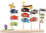 リュウコドウ 五月人形 三本立ち 鯉のぼり 間口21cm x 奥行3cm x 高さ15.5cm