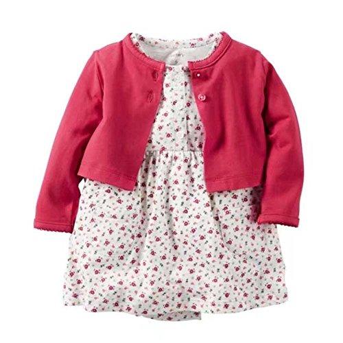 [해외]카 타즈 Carter `s 가디건 반소매 롬퍼 스 원피스 2 종 세트 레드 와인 의류 여자 [병행 수입품]/Carters` Cardigan Short Sleeve Romper Dress 2 Piece Set Wine Red Baby Clothes Girl [Parallel import goods]