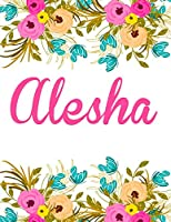 Alesha: Personalised Name Notebook/Journal Gift for Women & Girls 100 Pages (White Floral Design)