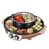 DHINGM 電気誘導鍋炊飯器、1ステンレス鋼BBQ&鍋フライパンクックグリルキッチンパンマルチクッカーライスキッチントップスープメーカーで2500W 2 (Color : Brown)