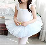 【 Angel Kids 】 キッズ バレエ 練習用 レオタード 衣装 レース フリル ダンス お姫様 (100㎝★水色)