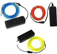 ELワイヤー セット3個 電池式 EL直径2.3mm 長さ5m (靑、緑、赤) 電池BOXセットx3個 【EL ネオンワイヤー EL照明 ELファイバー 光る衣装】