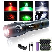 LED 懐中電灯 ズーム式 強力 超高輝度 - 赤、緑、白 3色のライト 超高輝度 Cree T6 Xm L2 搭載 ハンディライト LED自転車ライトズームライト 1000ルーメン 超強力 防水 18650 電池含む