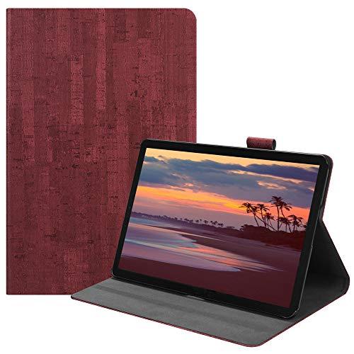 Happon の Samsung Galaxy Tab S4 10.5 inch T835 純正 レザー 財布 シェル カバー, フリップ 立つ, カード スロット, スタイリッシュ, Wine Red