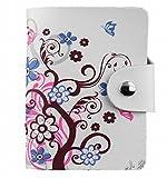 カモミル 本革 カードケース入れ 収納 26ポケット 整理  クレジットカード 白 柄入り (ちょうちょ花)