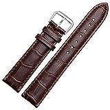 【TON CHARME】トンチャーメー 腕時計用ベルト 本革 おしゃれ 耐水性 スポーツ 柔らか ピンク・ブルー・ホワイト・レッド・パープル・ライトブルー・ブラック・ブラウン (22mmブラウン)