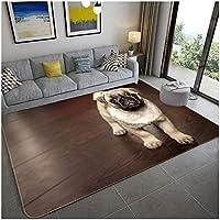 シンプルなリビングルームカーペット寝室滑り止めカーペット子供のゲームパッドかわいいペットの犬のパターン、クリスタルベルベット/サイズオプション,F,120X160cm