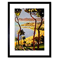 Travel Cannes Cote D'azur France Beach Sea Picture Framed Wall Art Print 旅行フランスビーチ画像壁