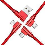 Micro USBケーブル 3本セット 【1.8M + 1.2M + 0.15M】 高速充電ケーブル 高耐久ナイロン 高速データ転送 充電 Android micro usb対応 マイクロusbケーブル ALEE (レッド 1.8M + 1.2M + 0.15M)