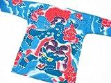【唐獅子牡丹 刺青風・新橋ブルー】 東京いろはオリジナルの鯉口シャツ 男女兼用 (M 中サイズ)