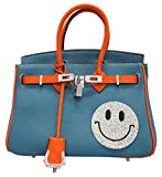 スマイル バーキンタイプ 本革 バッグ 25cm ブルー×オレンジ レディース