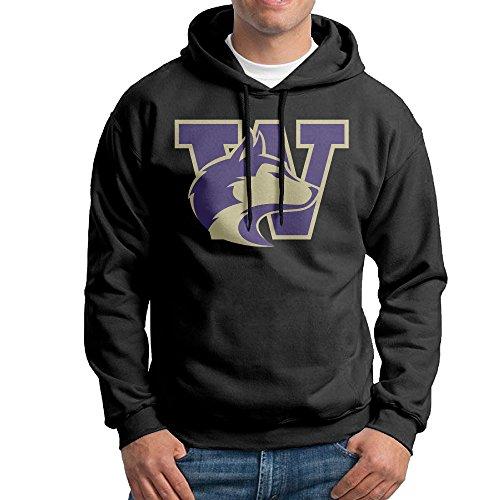 ちひろ ワシントン・ハスキー大学 オオカミ ロゴ メンズ 流行 スウェットシャツ フード付き パーカー ヒップホップ Black
