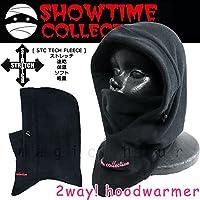フードウォーマー スノーボード フェイスマスク 速乾 4way ストレッチ バラクラバ ネックウォーマー SHOWTIME COLLECTIVE(ショウタイム コレクティブ) ロゴ刺繍 スキー スノボ フリース ブラック