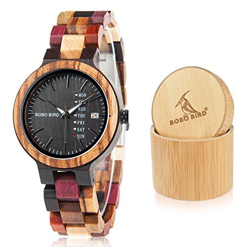 BOBO BIRD メンズ レディース 木製腕時計 カラフル 木材 腕時計 デイデイト表示 多機能 手作り クォーツ時計 スポーツ クロノグラフ ユニーク(レディース)