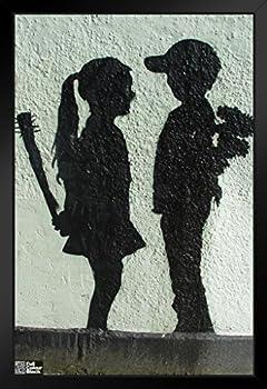 (ピラミッドアメリカ) Pyramid Americaフレーム入りポスター Banksy Boy Meets Girlグラフィティアート サイズ12 x 18インチ 12  x 18  Inch