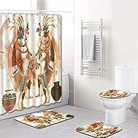 CSJ アフリカ人格文化パターンシャワーカーテンフロアマット浴室トイレシート4ピースカーペット吸水率は衰退しません汎用性の高い快適なバスルームマットは洗濯機で洗えます 水分を効果的に吸収