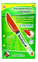 Ticonderoga RediSharp Plus Low Odor Permanent Markers Fine Point Red One Dozen (98201) by Dixon Ticonderoga [並行輸入品]