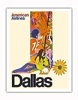 ダラス、テキサス州 - カウボーイブーツ、ひまわりの拍車 - アメリカン航空 - ビンテージな航空会社のポスター c.1960s - アートポスター - 28cm x 36cm