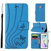MGVV Samsung Galaxy S6 Wallet Case, [Butterfly Embossing] Folio Folding Wallet Case Flip Cover Protective Case with Card Slots and Kickstand for Samsung Galaxy S6 - Blue