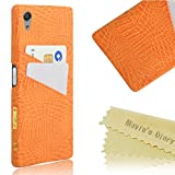 Sony Xperia X performance ケース Mavis's Diary カバー クリア 超薄型 耐衝撃 保護キャップ スマホケース PC+レザー素材 オレンジ