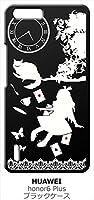 sslink honor 6 Plus オーナー ブラック ハードケース Alice in wonderland アリス 猫 トランプ カバー ジャケット スマートフォン スマホケース 楽天モバイル