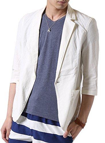 (アーケード) ARCADE メンズ 春 夏 綿麻 リネン 細身 七分袖 テーラードジャケット M アイボリー