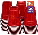 レッドソロカップColdプラスチックパーティーカップ16オンス100パック