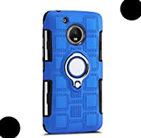 Moto E4 ケース, Very Thin Square Style 360 Rotary Finger Ring Movie Stand Vehicle-Mounted Metal Plate Phone カバー, WEIFA Smartphone ケース For Moto E4 LBlue