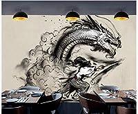 FFYYJJLEI 3D壁紙中国の浮世絵戦士キリングドラゴン風景レストランツーリングウォール-450x300cm