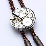 【tie*on】機械式時計ループタイ 腕時計のムーヴメント(ムーブメント)使用 スチームパンクな装いに (茶)