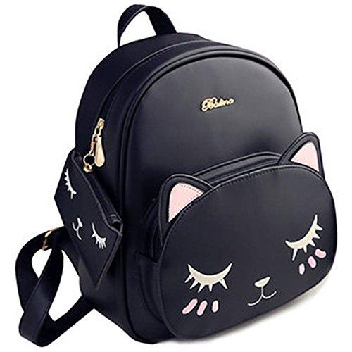 Smile リュック 猫ちゃん耳付きショルダー ハンド バッグ 3way レディース レザー デイパック通学 通勤 旅行 (ブラック)