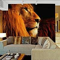 Lcymt 現代的なスタイルのライオンヘッド写真の壁紙リビングルームの背景の壁の装飾環境に優しいカスタマイズされたサイズ3Dステレオ壁紙-150X120Cm