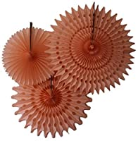 Hanging Honeycomb Tissue Fan, Peach, Set of 3 (13 inch, 18 inch, 21 inch) by Devra Party