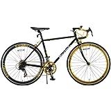 Raychell+(レイチェルプラス) ロードバイク 700C R+713 GolDragon クロモリフレーム シマノ14段変速 フレームサイズ480mm・コイルワイヤー錠/前後シリコンLEDライト付属 ブラック/ゴールド
