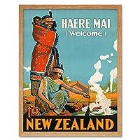 New Zealand Maori Haere Mai Welcome Vintage Travel Advert Art Print Framed Poster Wall Decor 12x16 inch ニュージーランドビンテージ旅行広告ポスター壁デコ