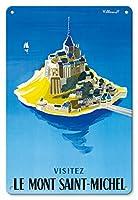 22cm x 30cmヴィンテージハワイアンティンサイン - モン・サン・ミッシェルをご覧ください - ノルマンディー、フランス - ビンテージな世界旅行のポスター によって作成された ベルナール・ヴィユモ c.1955