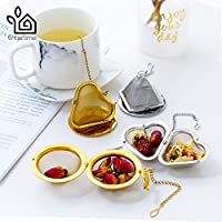 Best Quality - Tea Strainers - Entertime Stainless steel tea strainer gold plated tea infuser tea ball mesh with chain and tray - by Tini - 1 PCs