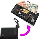 GEO FLIGHT 旅行 専用 軽量 多収納 便利 な ミニ 財布 (安心 ストラップ リール付き)