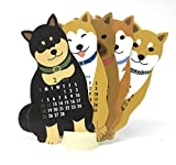 Japanese shiba-inu犬2018ダイカットデスクトップカレンダー