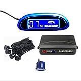 Tuqiang パーキングセンサー バックセンサー LED発光ディスプレイ色自由選択 バックセンサーシステム 12V車用 アラーム モニター付き 4個センサー(ブルー)