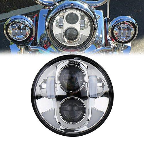 OVOTOR 5.75インチヘッドライト ハーレーダビッドソンFXD・FXDL・FXDC・FXDB・FXDF バイク対応 Hi/Loビーム 昼間点灯機能 クロム 1個