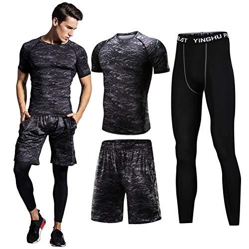 Sillictor スポーツウェア 3点 セット 半袖 コンプレッションウェア + ロング コンプレッションタイツ + ショート パンツ メンズ [UVカット + 吸汗速乾] 016半袖 L
