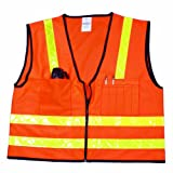 Mutual 16309 High Visibilty Polyester Surveyor Safety Vest with Pockets, 4X-Large, Orange by Mutual