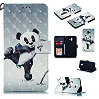 Abtory Galaxy J6 Plus ケース,Premium PU Leather Galaxy J6 Prime ケース Wallet 3D Cartoon Painted ケース Flip with Kickstand Card Holder Bookstyle Magnetic Closure for Samsung Galaxy J6 Plus Bear